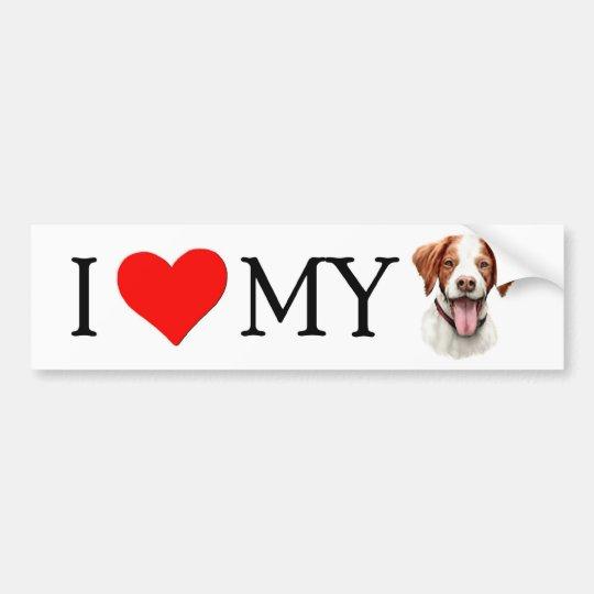 I Love My Brittany Bumper Sticker