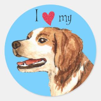 I Love my Brittany Classic Round Sticker