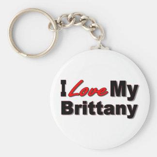 I Love My Brittany Dog Keychain