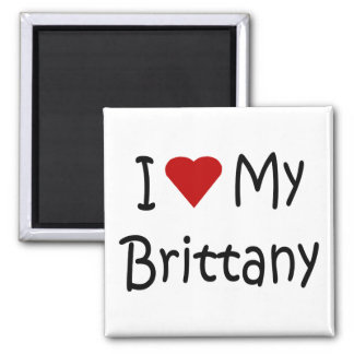 I Love My Brittany Dog Lover Gifts and Apparel 2 Inch Square Magnet