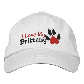 I Love My Brittany Dog Paw Print Embroidered Baseball Cap