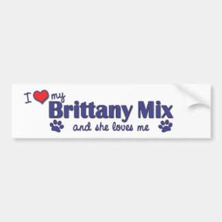 I Love My Brittany Mix (Female Dog) Bumper Sticker