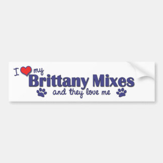 I Love My Brittany Mixes (Multiple Dogs) Bumper Sticker