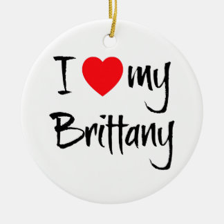 I Love My Brittany Double-Sided Ceramic Round Christmas Ornament