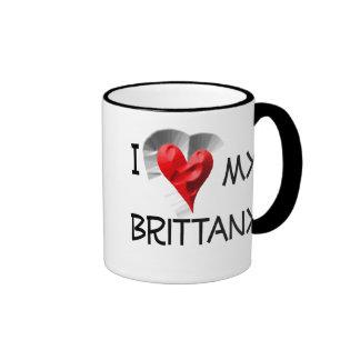 I Love My Brittany Ringer Coffee Mug