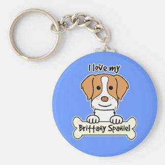 I love My Brittany Spaniel Basic Round Button Keychain