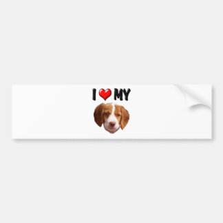 I Love My Brittany Spaniel Bumper Sticker