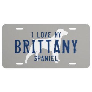 I Love My Brittany Spaniel Custom License Plate