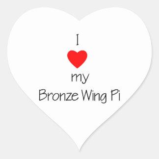 I Love My Bronze Wing Pi Heart Stickers