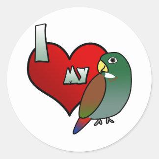 I Love my Bronze Wing Pionus Stickers