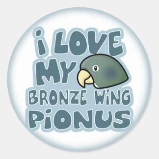 I Love My Bronze Winged Pionus Stickers