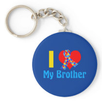 I Love My Brother Autism Awareness Blue Keychain
