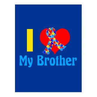 I Love My Brother Autism Awareness Blue Postcard