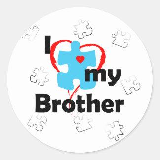 I Love My Brother - Autism Classic Round Sticker