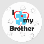 I Love My Brother - Autism Round Stickers
