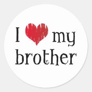 I love my brother classic round sticker