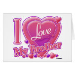 I Love My Brother pink/purple - heart Greeting Card