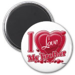 I Love My Brother red - heart 2 Inch Round Magnet