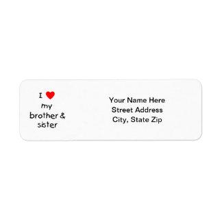 I Love My Brother & Sister Custom Return Address Label