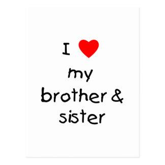 I Love My Brother & Sister Postcard