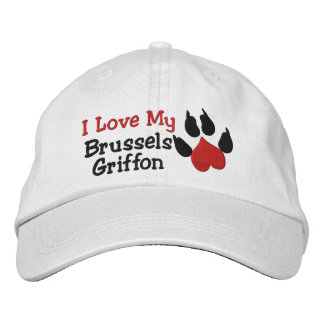 I Love My Brussels Griffon Dog Paw Print Embroidered Baseball Cap