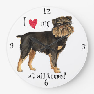 I Love my Brussels Griffon Large Clock