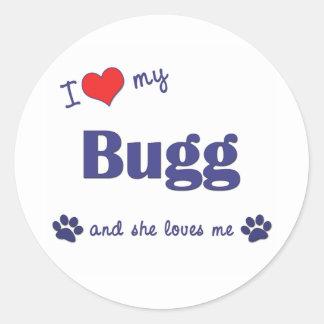 I Love My Bugg (Female Dog) Round Stickers