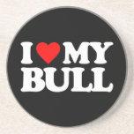 I LOVE MY BULL BEVERAGE COASTER