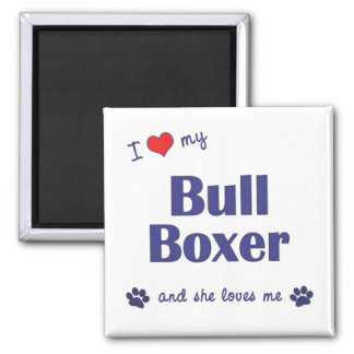 I Love My Bull Boxer (Female Dog) Magnet