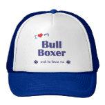 I Love My Bull Boxer (Male Dog) Mesh Hats