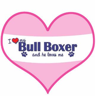 I Love My Bull Boxer (Male Dog) Statuette