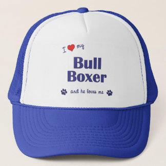 I Love My Bull Boxer (Male Dog) Trucker Hat