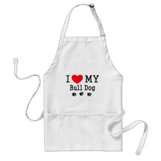 I Love My Bull Dog! Aprons