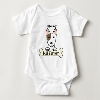 I Love My Bull Terrier Baby Bodysuit