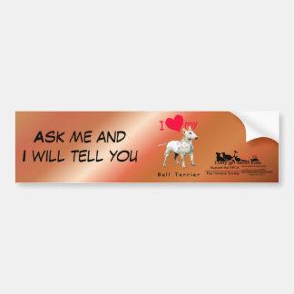 I Love My Bull Terrier Car Bumper Sticker