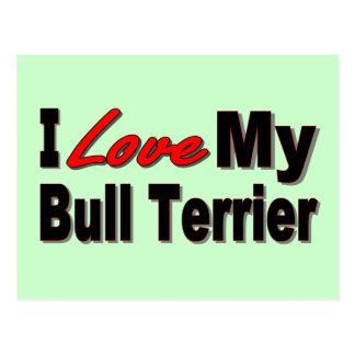 I Love My Bull Terrier Dog Merchandise Postcard