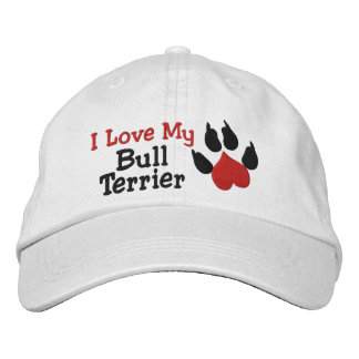 I Love My Bull Terrier Dog Paw Print Embroidered Baseball Hat
