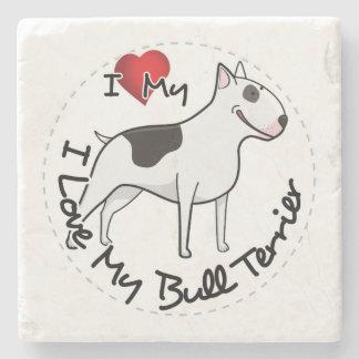 I Love My Bull Terrier Dog Stone Coaster