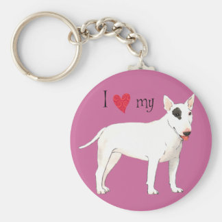 I Love my Bull Terrier Keychain