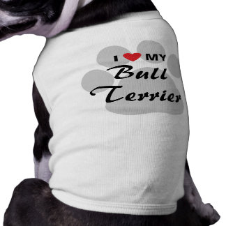I Love My Bull Terrier Pawprint Dog T Shirt
