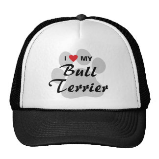 I Love My Bull Terrier Pawprint Trucker Hat
