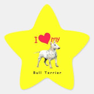 I Love My Bull Terrier Star Stickers