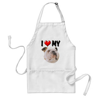 I Love My Bulldog Adult Apron