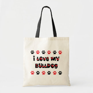 I Love My Bulldog Budget Tote Bag