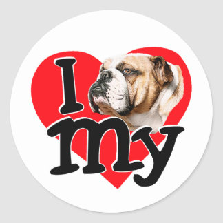 I Love my Bulldog Classic Round Sticker