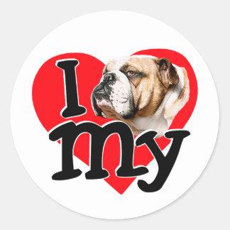 I Love my Bulldog Classic Round Sticker