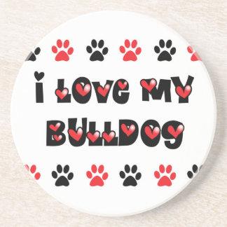 I Love My Bulldog Drink Coaster