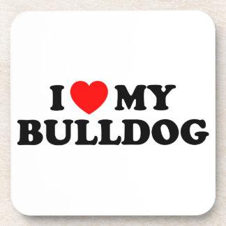 I Love my Bulldog Cork Coaster