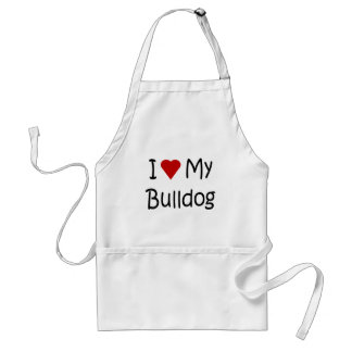 I Love My Bulldog Dog Lover Gifts and Apparel Adult Apron