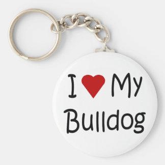 I Love My Bulldog Dog Lover Gifts and Apparel Keychain